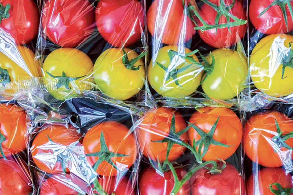 Colorful tomatoes in plastic packaging.