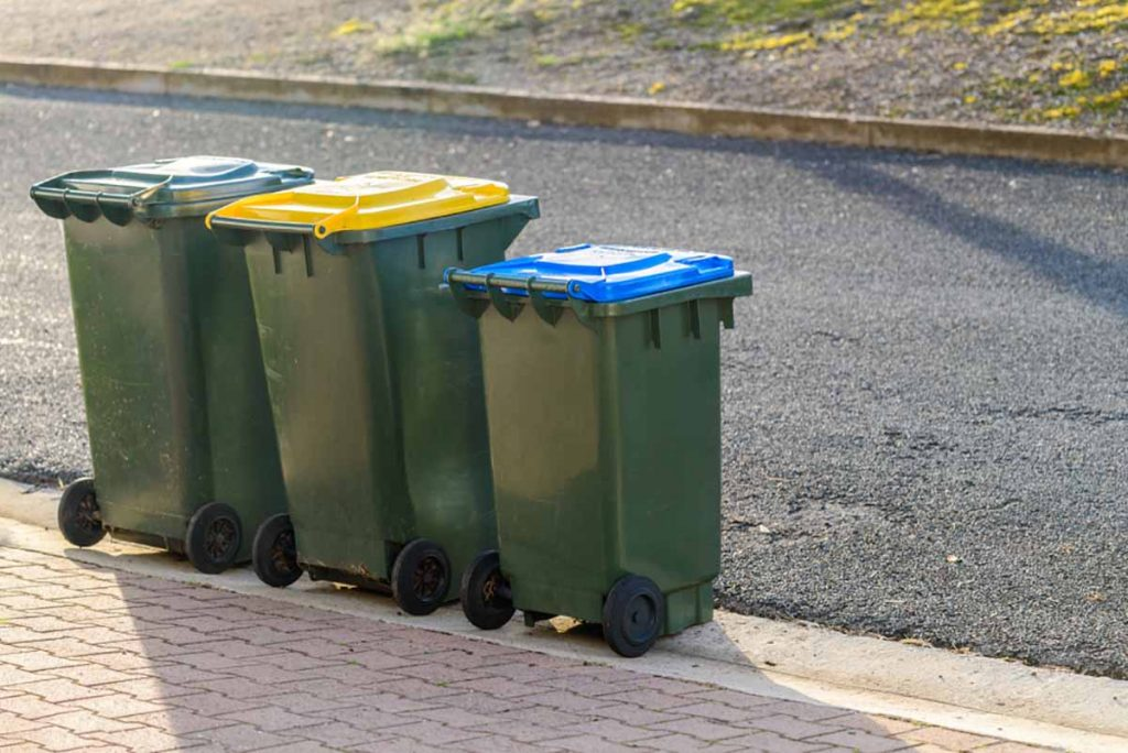 Waste and recycling bins sit curbside.