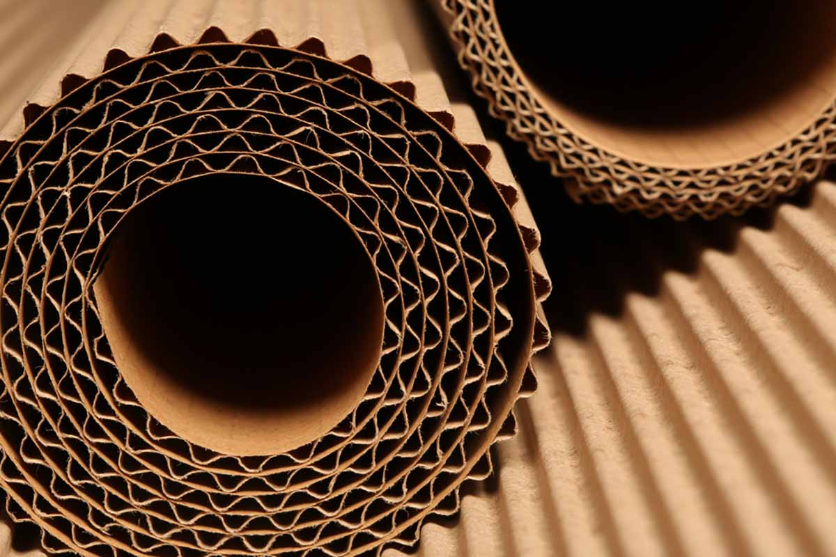 Closeup of rolled corrugated paper.