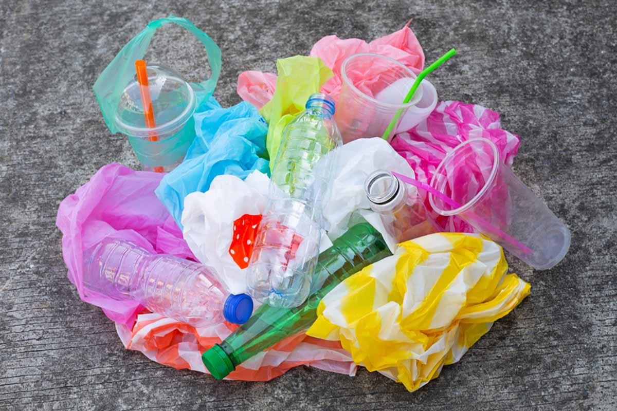Various plastic materials gathered for recycling.
