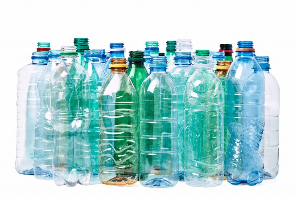 PET bottles gathered for recycling.
