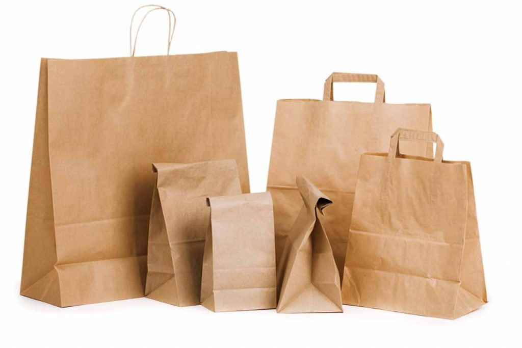 Various paper bags on a white background.
