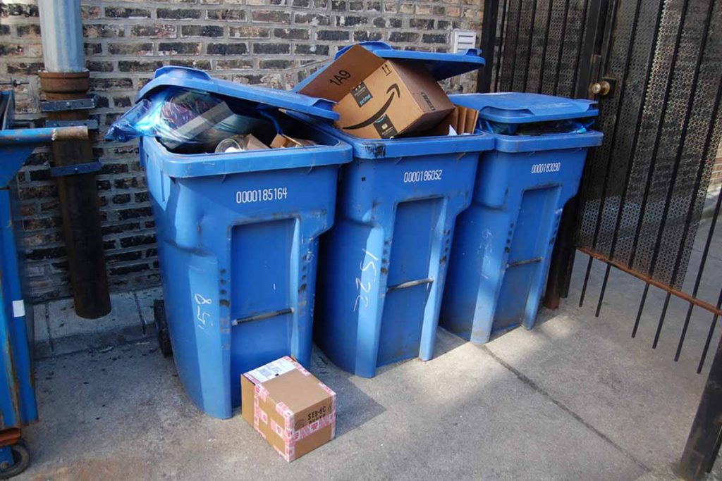 Residential recycling bins in front of a home in Chicago.