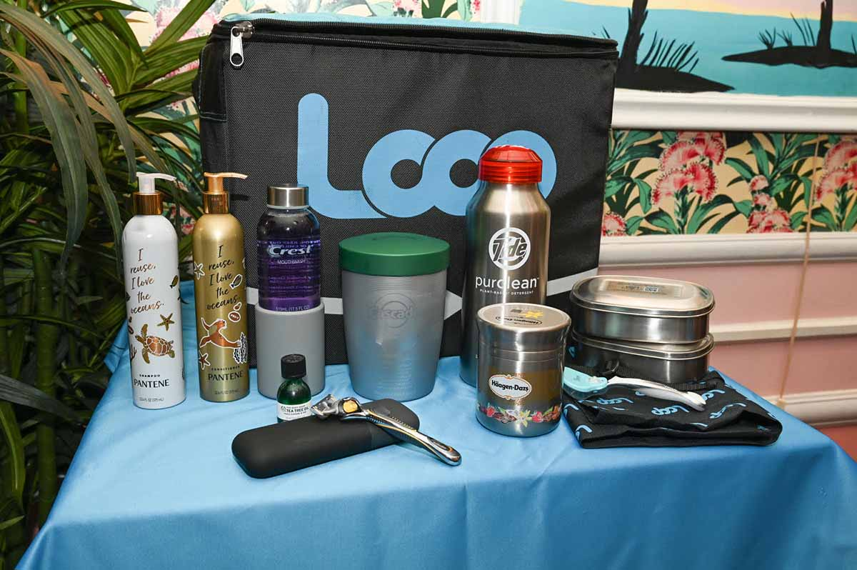 A table with samples of reusable packaging in the Loop platform.