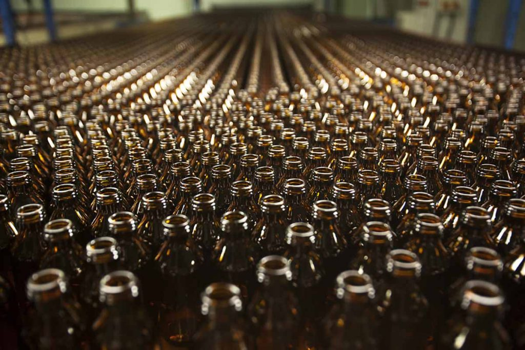 Glass bottles finished at the factory.