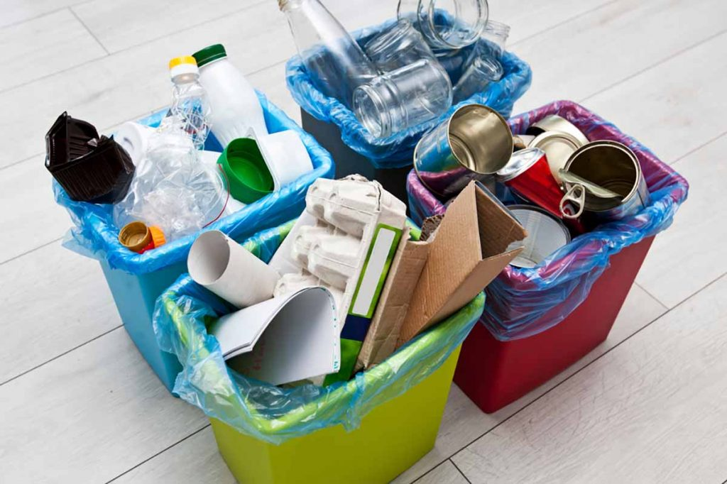 Sorted household recyclables.
