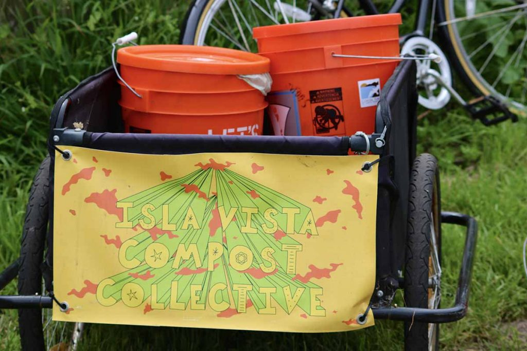 Isla Vista Compost Collective bicycle trailer collection system.