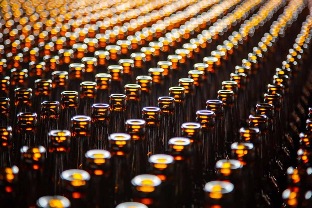 Brown glass bottles at the manufacturing plant.