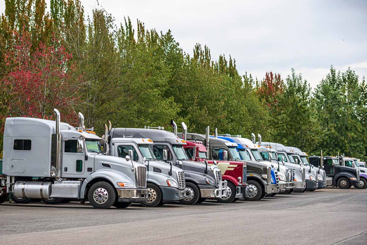 Many hauling trucks parked in a lot.