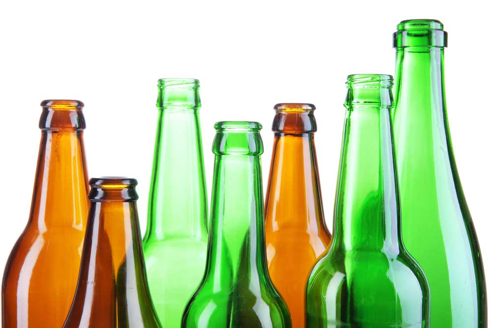 Glass bottles for recycling.