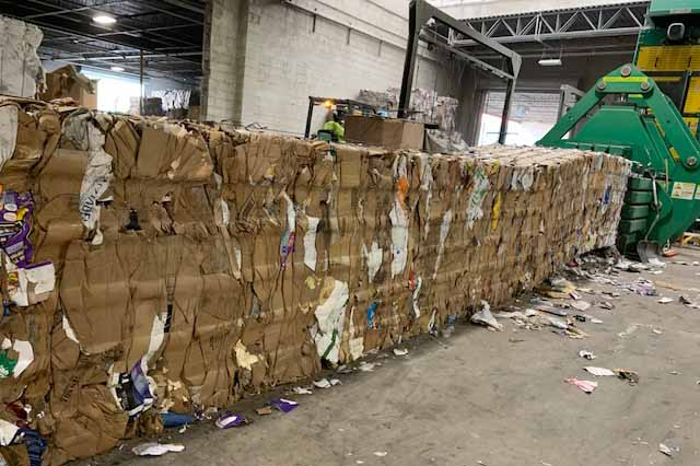Baled OCC in the recycling facility.