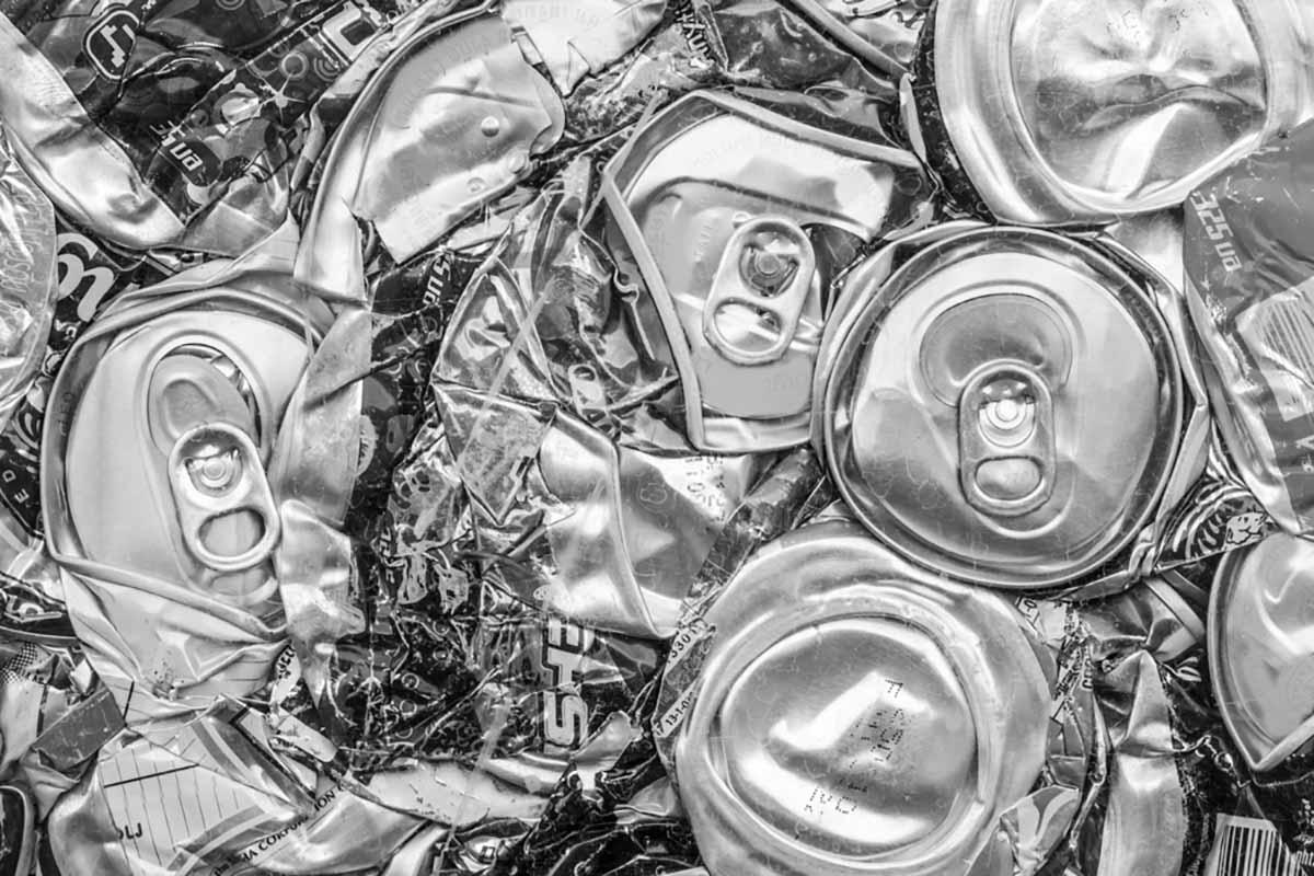 Aluminum can bale close up.