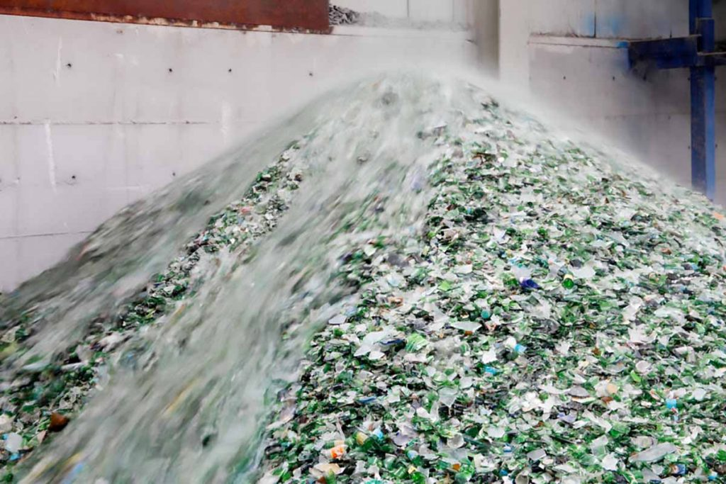 Glass recycling pile.