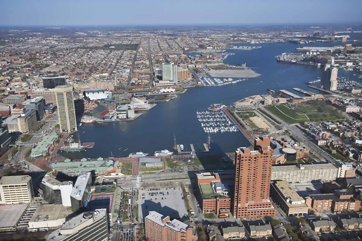 Aerial view of Baltimore and inner harbor.