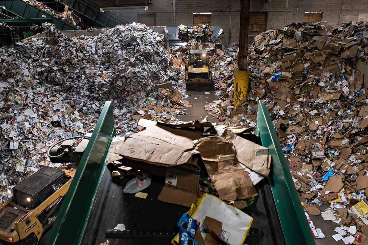 View inside Eureka Recycling's facility.