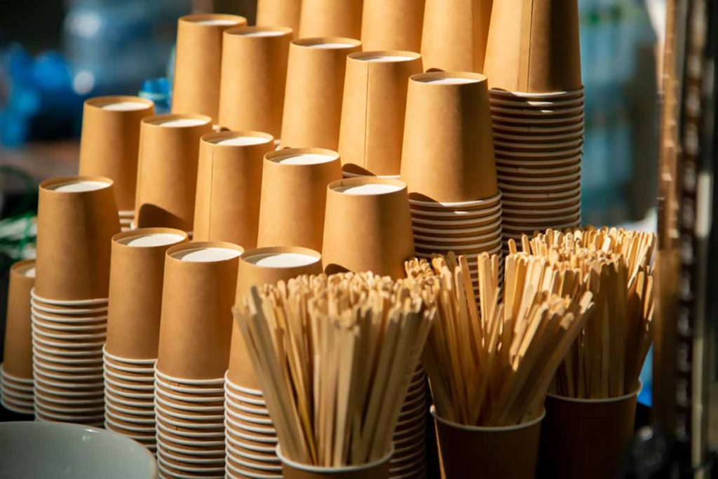 Coffee cups stacked in a cafe.
