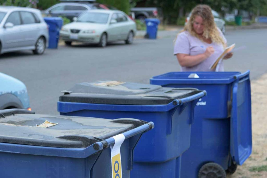 Recycling contamination checks in Olympia, Wash.