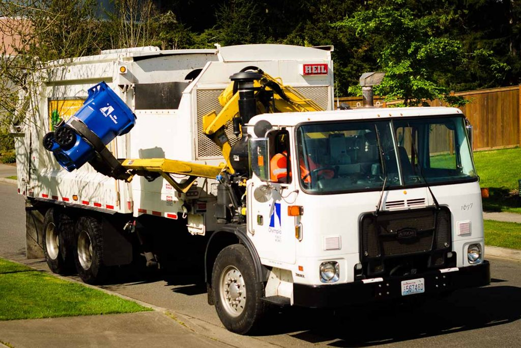 Recycling collection truck for the city of Olympia, Wash.