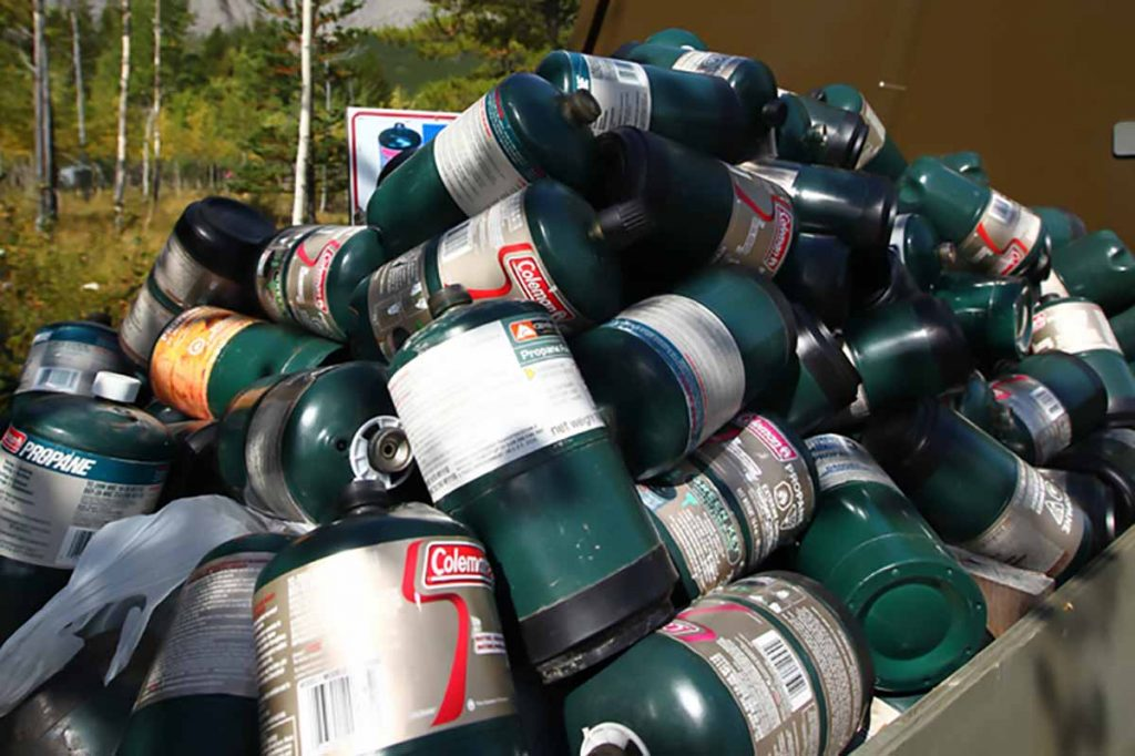 Empty propane tanks for recycling